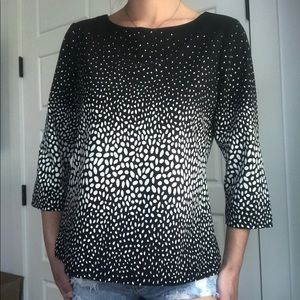 Ann Taylor black off white Cropped sleeve blouse